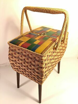 Singer Sewing Stand Box Vintage Mid Century Wicker Basket Design Made In Japan