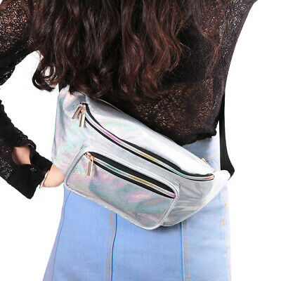 OULII Shiny Casual Fashion All-match Unisex PU Leather Travel Bag Waist Pouch