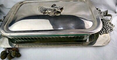 Godinger Large Serving Tray Casserole Dish Holder w/ Handles and Lid Grapes Desi