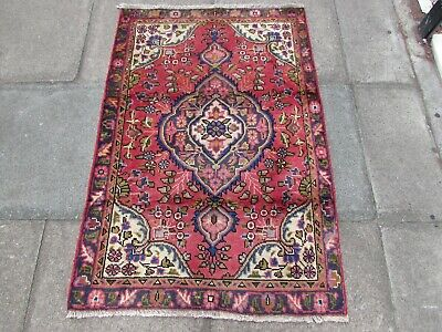 Vintage Worn Hand Made Traditional Rug Oriental Wool Red Small Rug 137x91cm