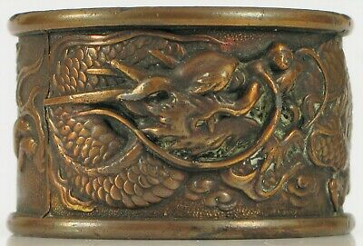 Antique Fine Chinese Export Heavy Bronze High Relief Dragon Napkin Ring 18 Grams
