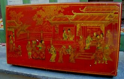 Antique Style Chinese Red Lacquer Hand Painted Wood Chest Brass Handles