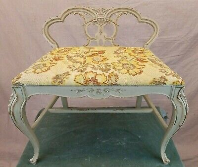 Vintage Chic Romantic French Louis Xv Style Carved Vanity Chair Bench Boudoir