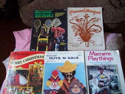5 Vintage 70's MACRAME Craft Books, Christmas, Gifts, Playthings, ETC, VGC