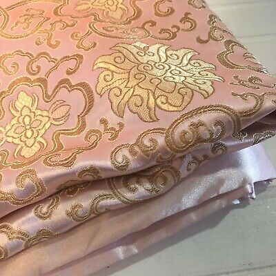 I Frogee Light Pink Fortune Flower Satin Brocade Baby Blanket Asian 30 x 39