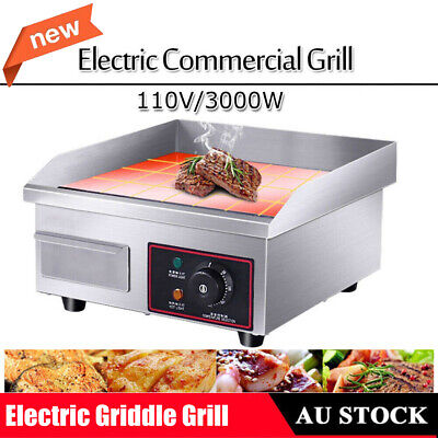 3000W Commercial Electric Griddle BBQ Grill Plate Hot Stainless Steel Countertop