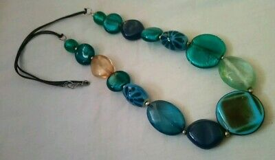 Statement green oval disc bead necklace