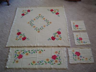 """Vtg 45"""" Square Woven Fringed Floral Tablecloth + Table Runner~Napkins & Placemat"""