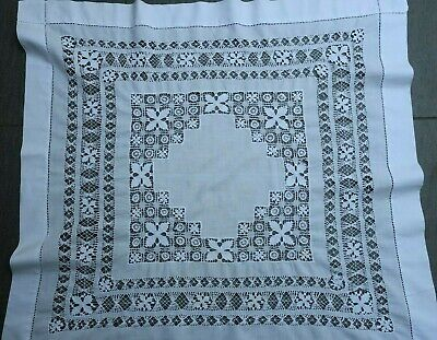 vintage edwardian DRAWN THREAD hand embroidered cotton TABLE CENTRE small AF