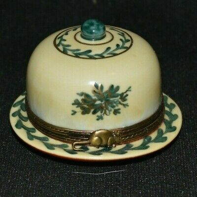 Antique Porcelain Ring Trinket Box Covered Cheese Plate France Limoges