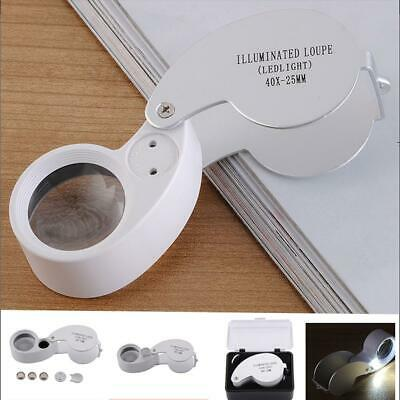 LED Light Folding Jewelry Reading 40X Magnifying Glass Silver With Battery Kit