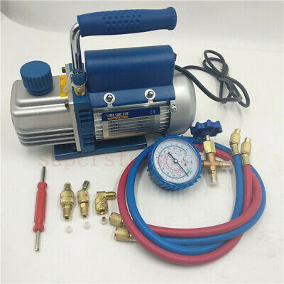 220V 2.12CFM Rotary Vane Vacuum Pump with 410 Connection Gauge 150W Single Stage