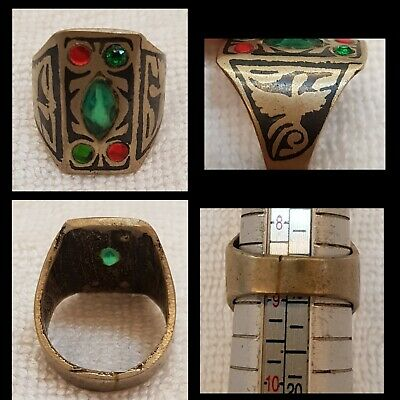 Wonderful Antique Mix Silver Afghanistan Ring With Enamel Inlay
