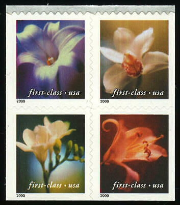 US #3454-7 3454-3457 3457a (34¢) Orchids Block of 4 VF NH MNH