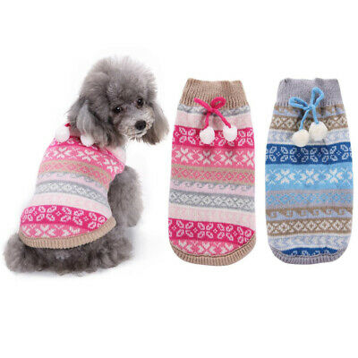 Christmas Sweater Dog Clothes  Knitted Jumper Apparel For Small Large Dog XS-XL
