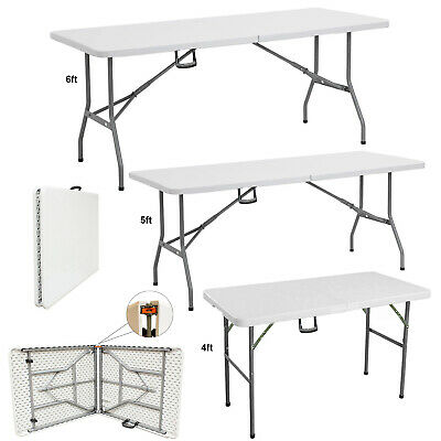 4ft 5ft & 6ft Heavy Duty Folding Trestle Table Catering Camping Picnic BBQ Party