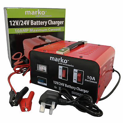 10Amp 12V/24V Car Van Battery Charger Electrical Charging Vehicle Heavy Duty