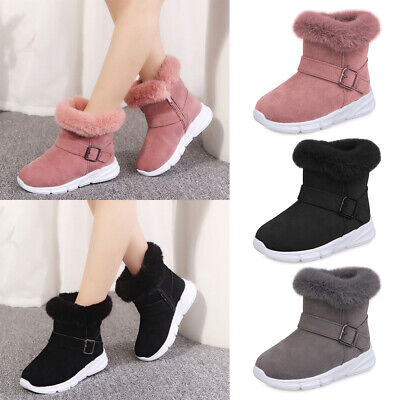 Kids Girls Winter Fur Zip Up Ankle Boots Toddler Casual Warm Snow Shoes Size