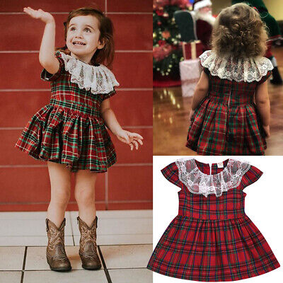 UK Christmas Baby Girl Strap Dress Toddler Princess Party Dresses Clothes Outfit