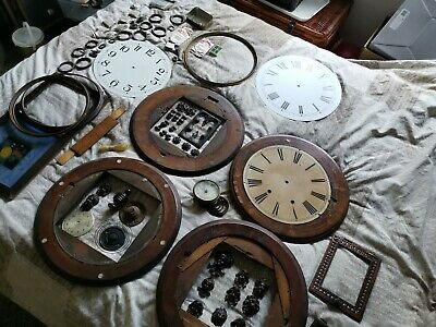 Antique American wood German Clock Parts masks spares bezels dials doors  joblot