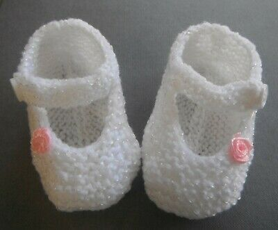 Hand Knitted Baby Booties Mary Jane Style -  Newborn To 3 Months
