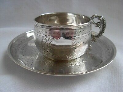ANTIQUE FRENCH STERLING SILVER COFFEE CUP & SAUCER,LOUIS 15 STYLE,LATE 19th.