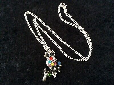 Small Owl Pendant Necklace, Coloured Stones, Silver Plate Chain - Nice Gift New