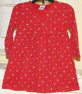 Girls OLD NAVY Red Flowered Christmas Dress Sz 12-18 Months