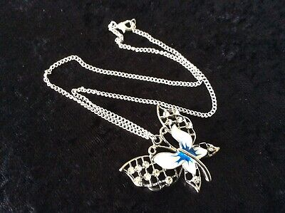 Butterfly Pendant Necklace, Enamel & Stones, Silver Plate Chain - Nice Gift New