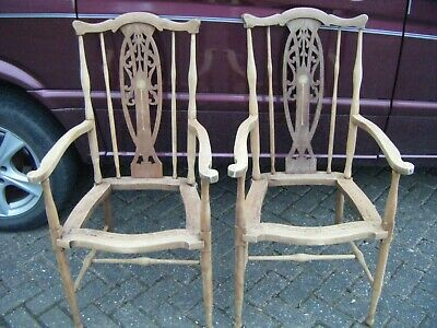 Pair Victorian Inlaid Armchairs / Elbow chairs. Arts and Crafts. Project.
