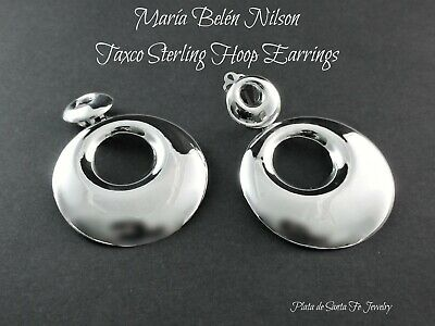 """Maria Belen~Sexy ~Contemporary Taxco~Mirror Polished- CLIP Hoop Earrings-2-1/2"""""""