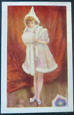 ca 1910 Glamour Postcard WINTER WOMAN IN PINK OUTFIT FUR TRIM - ELF HAT & MUFF