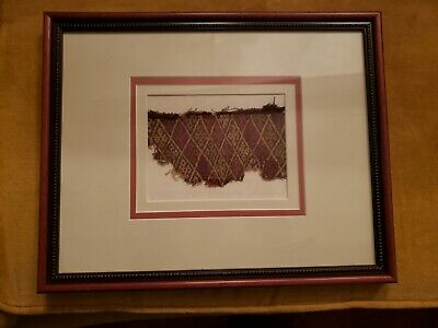 Framed Pre-Columbian Chancay Textile Fragment Peru
