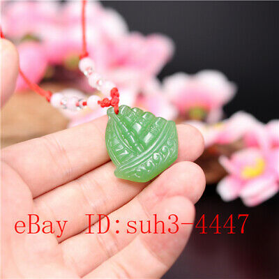 Green Sailboat Jade Pendant Double-sided Carved Necklace Jewelry Amulet Gifts