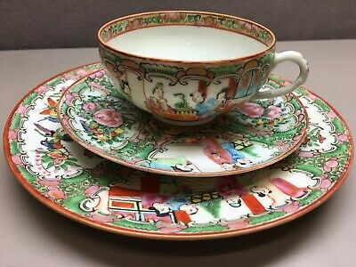 Vintage Famille Rose Tea Trio China Hand Painted Cup Saucer Side Plate