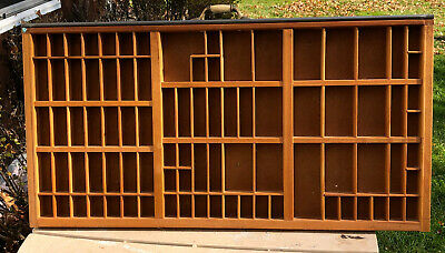 """Vintage Wood Printers Drawer -32"""" X 16"""" -With Attached Wall Hangers-Shadow Box"""