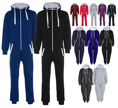 Men's Ladies Plus Size 1Onesie Plain Jumpsuit All In One Hooded Sizes S- 5XL