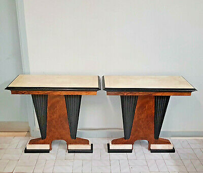 Rare Pair Of Italian Art Deco Consolle , Tuya And Parchment Veneered From 1940