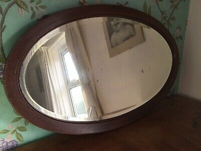 🌷 PRETTY Antique Edwardian Solid Inlaid Mahogany Aged Glass Oval Wall Mirror 🌷