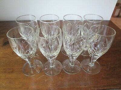 """Antique Cut Crystal Wide Stem Goblet Cups 8 Pcs 6 3/8"""""""" High Yellow Hue"""