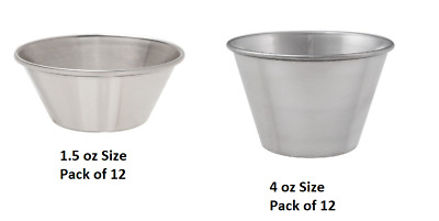 Pack Of 12 Stainless Steel Dipping Sauce Cup *YOU CHOOSE* 1.5 oz or 4 oz- NEW!