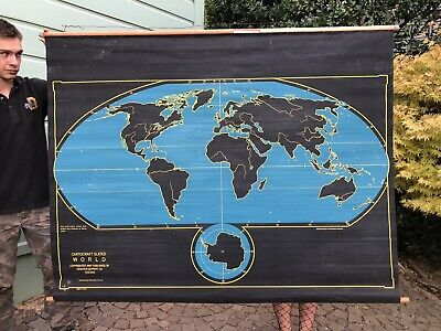 Cartocraft Two Sided Slated Map Of America, And The World, Collectible, Vintage.