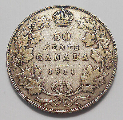 1911 Fifty Cents VG-F Nice SCARCE Date Key GODLESS 1st King George V Canada Half