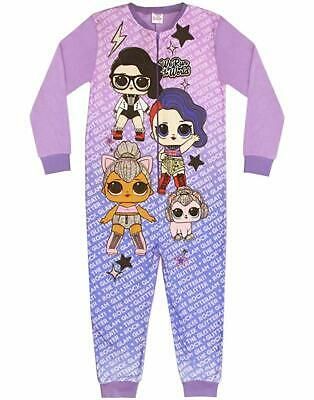 Girls LOL Surprise Fleece All In One Sleepsuit Pyjamas Pjs Nightwear Kids Gift