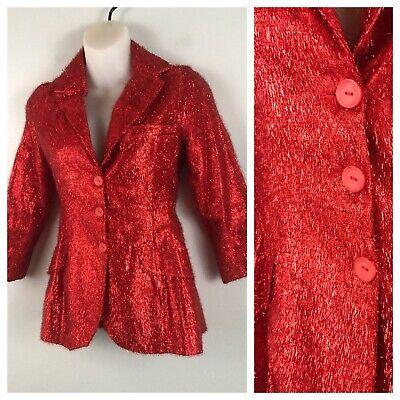 1970s Red Disco Blazer Jacket / Shiny Metallic Lame Button up Top / Young Girl