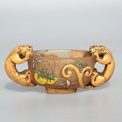 Collect Qianlong Year Coloured Glaze Gilding Hand-Carved Noble Double Dragon Cup