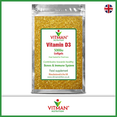 Vitamin D3 5000iu Softgels No Fillers Immune System Booster Winter Health Remedy