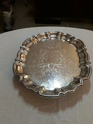 "Vintage Leonard Silver Plate Oval Footed Serving Tray , 14.5"" x 11"""