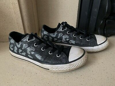 Converse Glitter Black And Grey Leopard Print Canvas Trainers Size 1.5