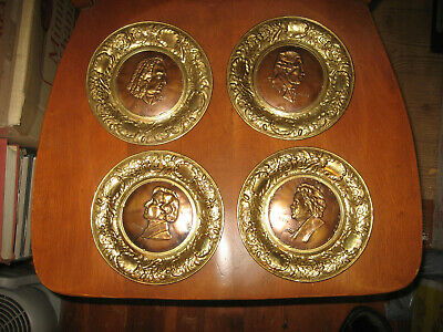 4 Embossed Brass Wall Plate of Composer Beethoven, Chopin, Handel, Haydn